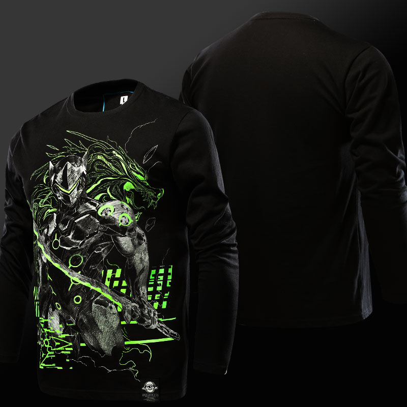 Cool OW Luminous Genji T-shirt Long sleeve OW Hero Tee shirt Men 3XL