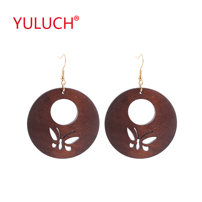 YULUCH 2018 New Design Vintage Ethnic Woman Jewelry Earrings For Natural Wooden Round Hollow Out Butterfly Earrings Gift