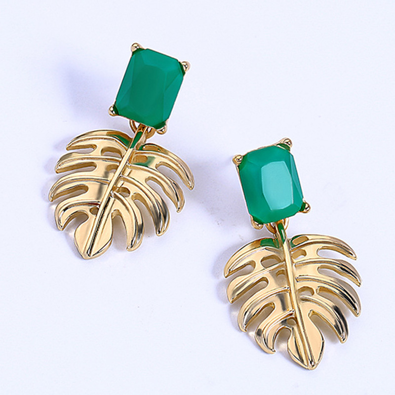 Classic Fashion Green Resin Rectangle Drop Earrings Gold Alloy Hollowed Leaf Dangle Earring For Women Chic Jewelry Accessories in Drop Earrings from Jewelry Accessories