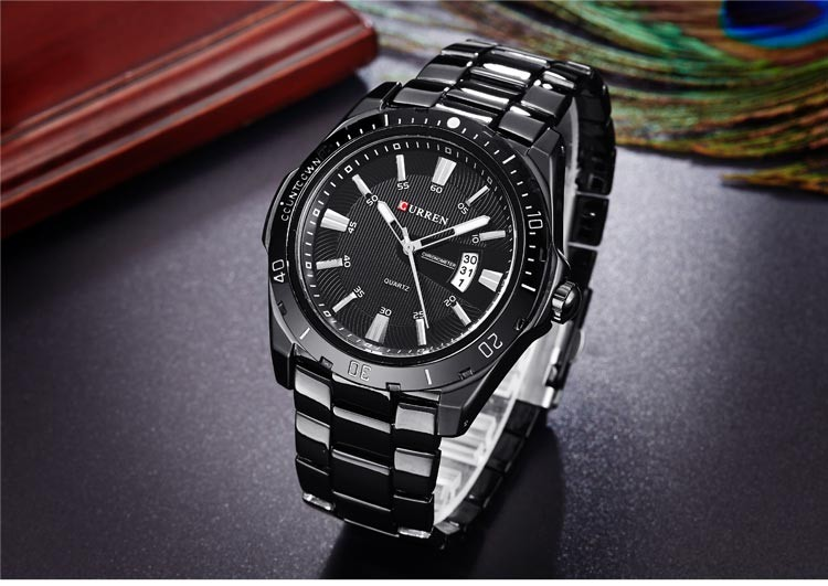 Men Full Steel Watches Quartz Analog Waterproof Army Military