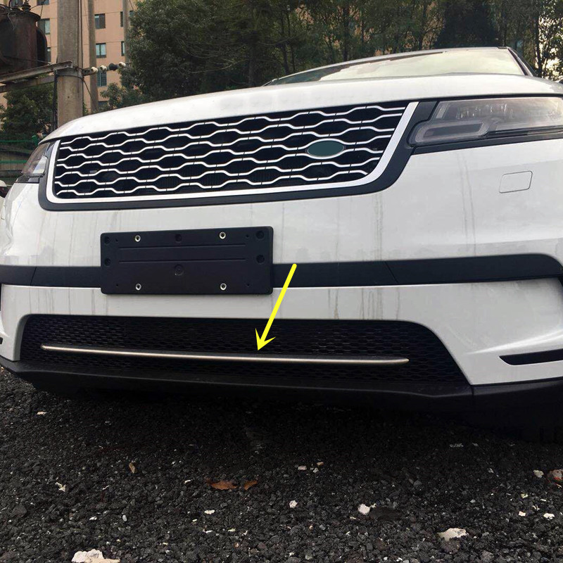 For Land Rover Range Rover Velar 2017 2018 Stainless Steel Front Bottom Center Grille Grid Decoration Strip Cover Trim 1pcs silver front bumper hood center grille for land rover range rover vogue 2014 2015 2016
