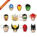 Mix 100pcs/lot Avengers Captain America  Superman Hulk keychains Action Figure Key ring Hanging Accessories Kids toy