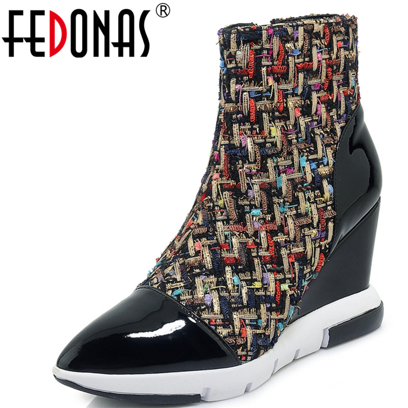 FEDONAS 1New Women Ankle Boots Pointed Toe Genuine Leather Wedges High Heels Shoes Woman Autumn Winter Warm Zipper Basic Boots moonmeek 2018 fashion autumn winter shoes woman pointed toe shoes woman wedges ladies boots women genuine leather ankle boots
