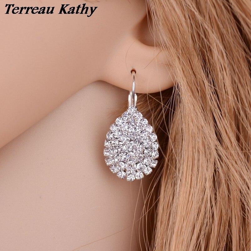 Terreau Kathy Fine Jewelry Rhinestone Wedding Plated Silver Earrings Fashion Water DropletsDrop Earrings For Women