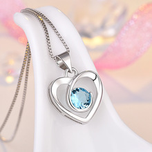 Fashion Jewelry Hollow Out Heart Shape Pendants Necklace Rotating Heart Crystal Zircon Pendant For Women Party Jewelry