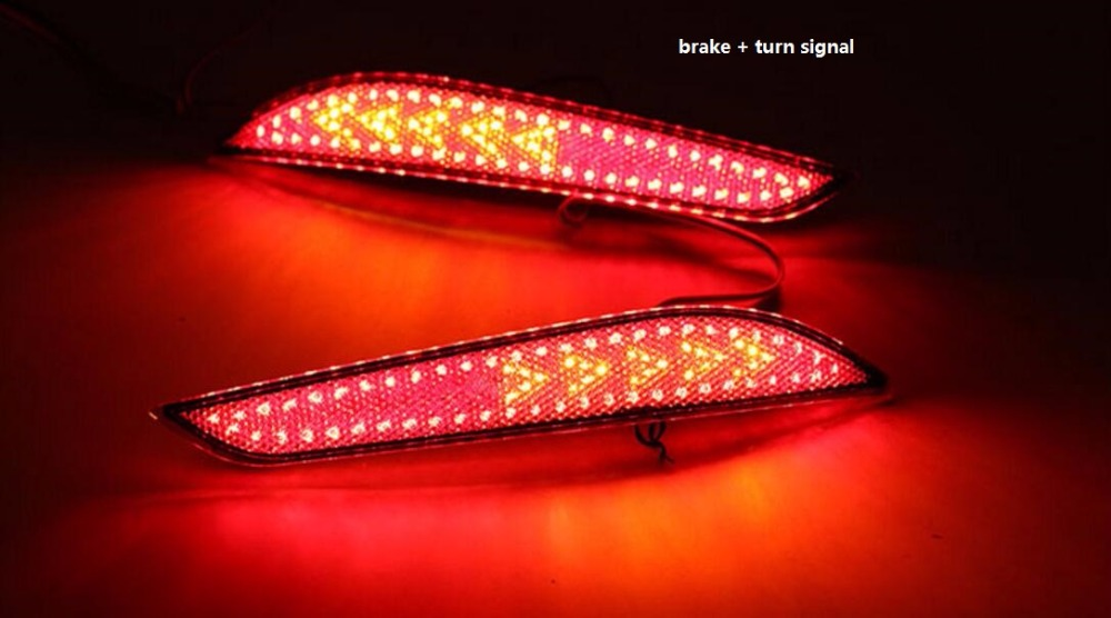 Qirun reflector, LED Rear Bumper Light, rear fog lamp, Brake Light For chevrolet cruze 2017 with turn signal and warning light led rear bumper warning lights car brake lamp cob running light led turn light for honda civic 2016 one pair