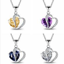 Everoyal Classic Crystal Blue Heart Pendant Necklace For Women Jewelry Top Quality Silver 925 Girl Choker Necklace Female Bijou classic heart pendant