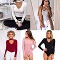 LIVA GIRL Женщины комбинезон V-образным Вырезом хлопок Sexy боди 2017 С Длинными рукавами 5 цвета комбинезоны тела feminino