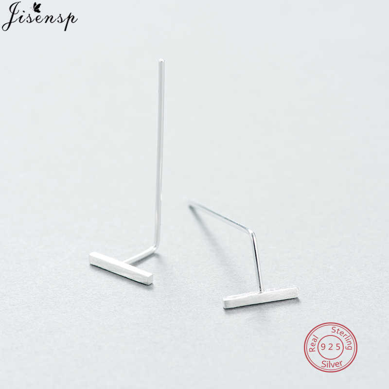 Jisensp New Fashion Earrings Brinco Simple T Bar Stud Earrings Silver 925 Jewelry for Women Korean Mariage Gifts Ear Jackets