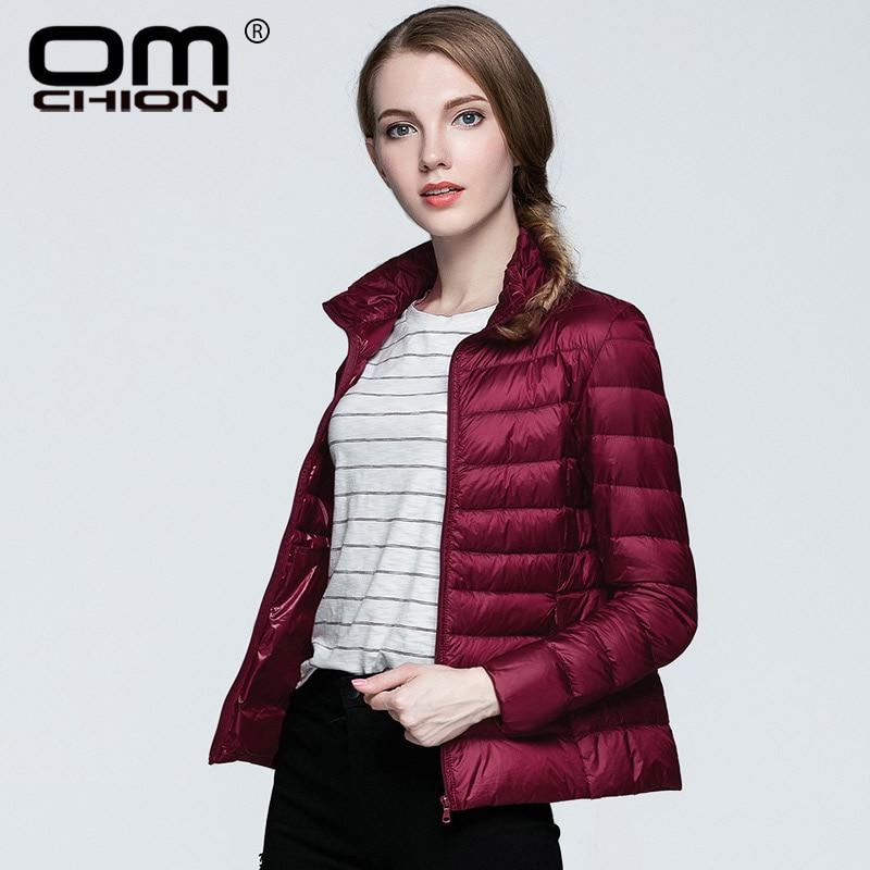 OMCHION Plus Size XXL 3XL Winter Jacket Women 2018 Korean Autumn Utral Light Slim White Duck   Down     Coat   Stand Collar Parka LY14