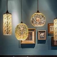 3D Firework Glass Pendant Light Chrome Lampshade LED Glass Lamp E27 Hanging Lamp For Shop Windows Restaurant Store Decoration