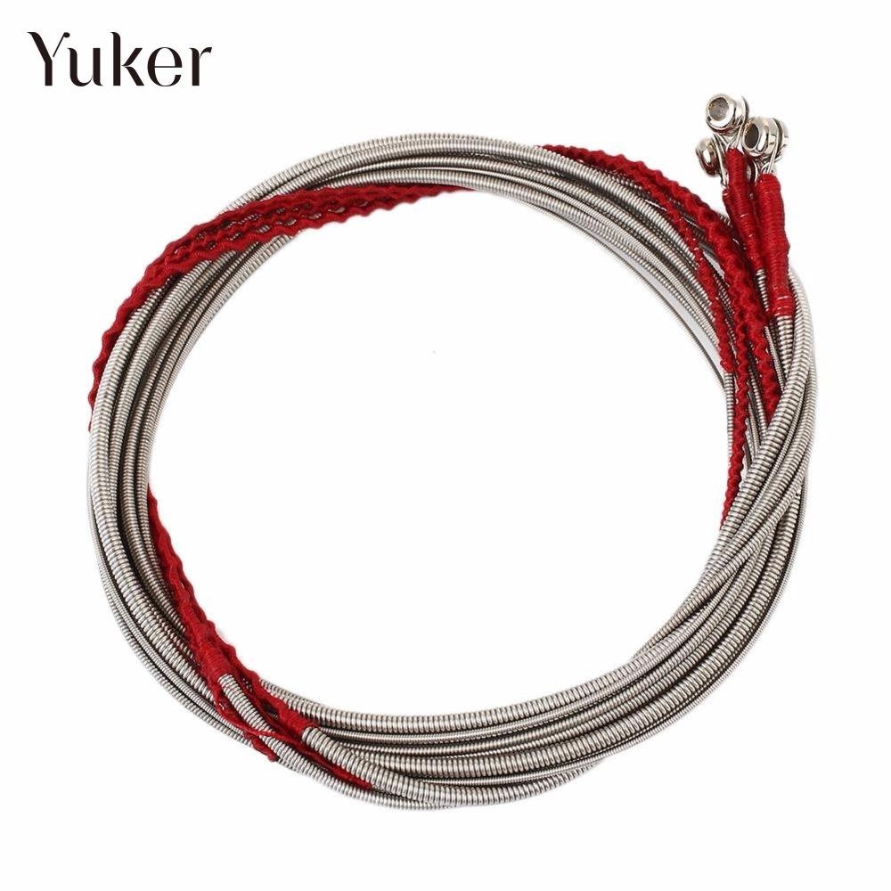 Yuker 4Pcs /Set Guitar Steel Strings for 4 String Bass Guitar Great Stainless Steel Nickel-plated Gauge Strings for Bass Guitar classical guitar strings set cgn10 classic nylon silver plated normal tension 028 045 classical guitar strings 6strings set