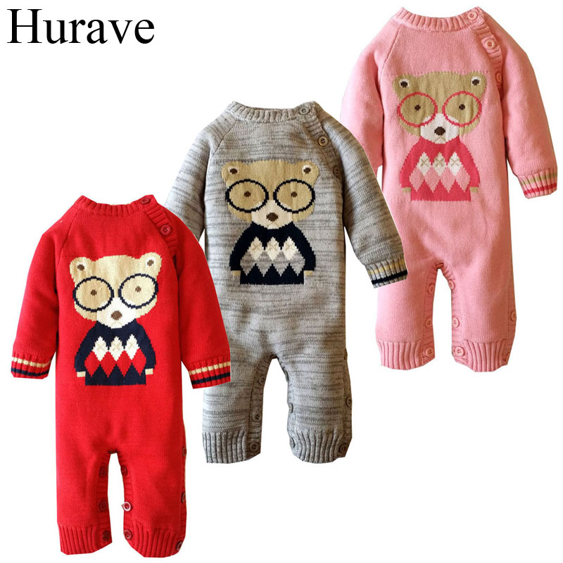 Hurave winter Infant Clothing Cute bear pattern cashmere sweater Hoodie Baby Romper New Born Baby boys and girls clothes 2016 infant romper baby boys girls jumpsuit new born bebe clothing baby clothes cute ladybug romper baby orangutan costumes