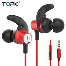 купить TOPK T13 In-ear Stereo Bass Earphones 3.5mm wired control Earphones for iPhone Xiaomi Samsung Mobile Phone дешево