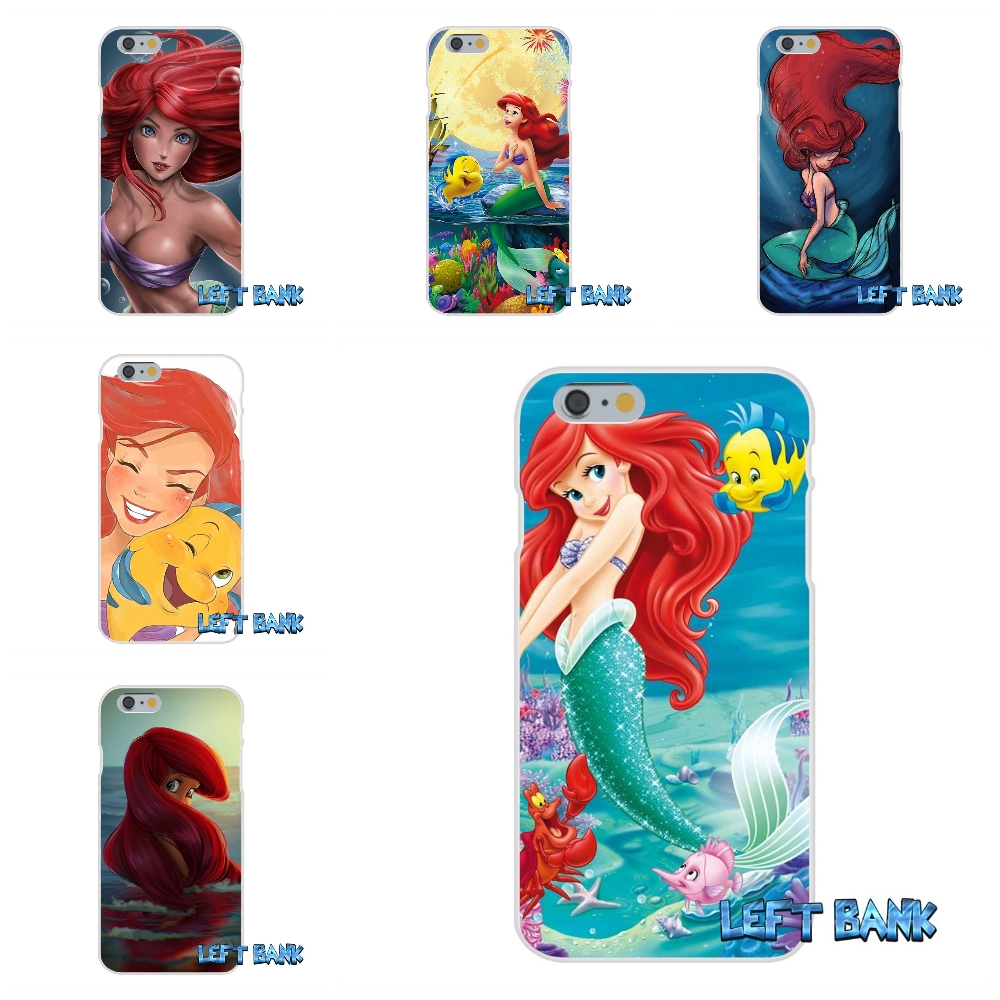 Ariel The Little Mermaid Soft Silicone TPU Transparent Cover Case For iPhone 4 4S 5 5S 5C SE 6 6S 7 Plus
