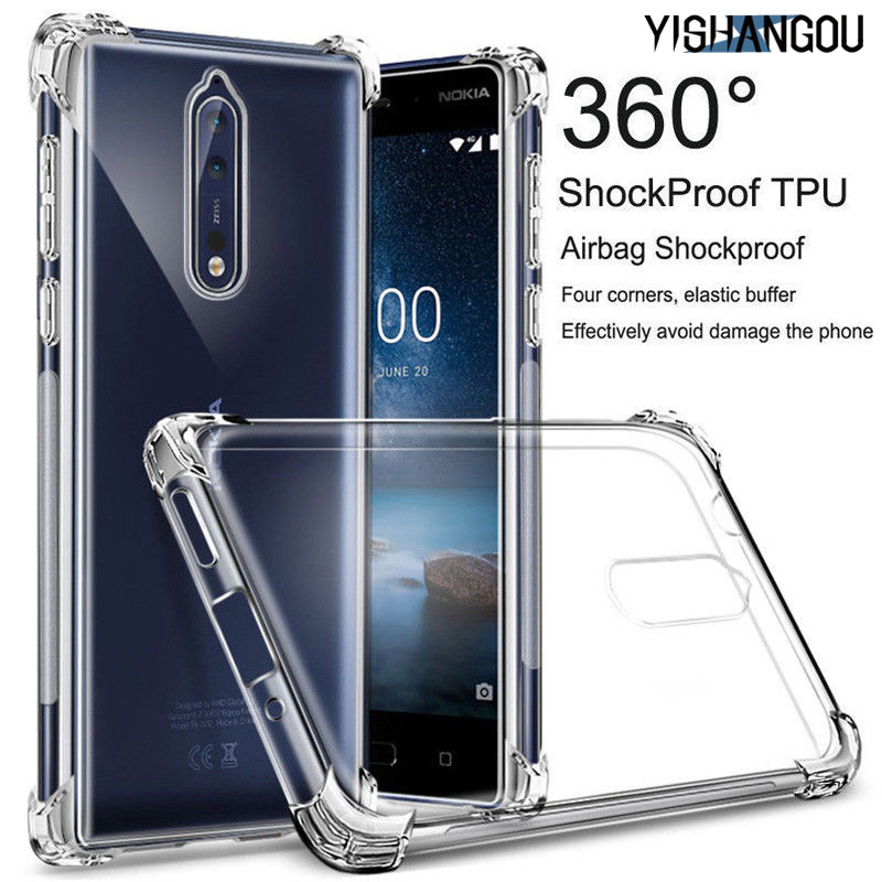 Shockproof ​Transparent Silicon Case <font><b>For</b></font> <font><b>Nokia</b></font> X6 <font><b>2.1</b></font> 3.1 5.1 6.1 7.1 Plus 1 2 3 5 2017 6 7 <font><b>2018</b></font> 8 2.2 3.2 4.2 Slim Soft <font><b>Cover</b></font> image