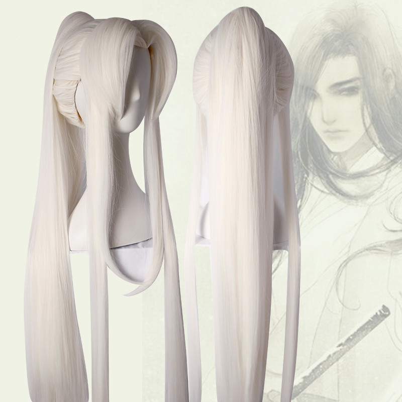 3 Styles White Magic Master Cosplay Hair Vintage Style Warrior Cosplay Products Chinese Ancient Hair Halloween Cosplay Boys Costume Accessories