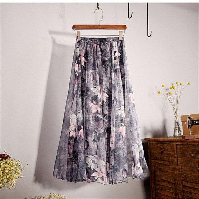 Elegant Summer 2018 Women Long Skirt Chiffon Saia Beach Bohemian Maxi Skirts High Waist Tutu Casual 3