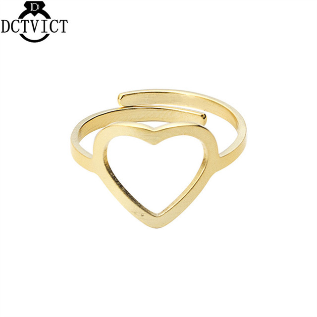 Simple Gold Aneis Feminino Stainless Steel Heart Ring Women Jewelry Gift Silver Engagement Rings Adjustable Bague Femme Bijoux