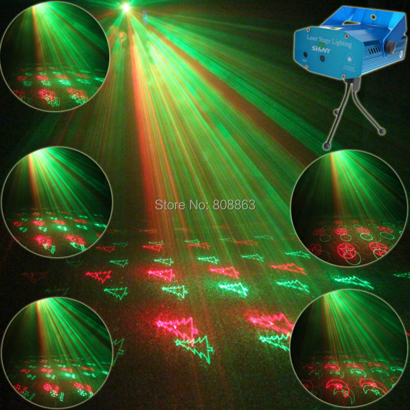 ESHINY Mini Red Green Laser projector 20 Patterns Christmas Party DJ Lighting Lights Disco Party Bar Dance Stage Light Show Y21 laser stage lighting 48 patterns rg club light red green blue led dj home party professional projector disco dance floor lamp