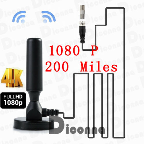 200 Mile 30dBi Indoor Gain Digital DVB-T DVB-T2 TV HDTV Aerial Antenna Amplifier 1080P 4K DTV 10 Ft Cable
