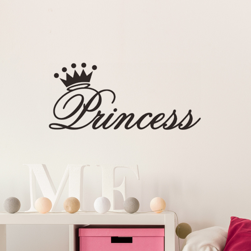 Diy Carved Wall Stickers Princess Crown Vinly Lettering Simple Room Dressing Table Bedside Decor Transfer Film Sticker Aliexpress
