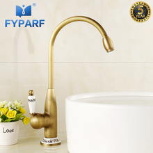 Basin Faucets Brass Antique Deck Mounted Bathroom Faucet Basin Mixer Faucet Sink Tap Kitchen Sink Faucet Mixer Cold and Hot Tap fashion high quality wall mounted single cold spring sink faucet basin faucet tap mixer