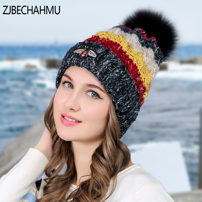 Fashoin Girls  Skullies Beanies Winter Hats For Women Knitting Cap Hat Pompoms Ball Warm Brand Casual Gorros Thick Female Cap skullies