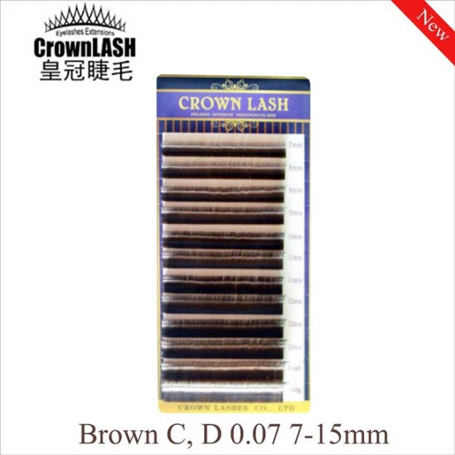 CrownLASH Volume Lash Extension Brown C, D-0.07 7-15mm Mixed Size Tray Japanese Style Charming Color