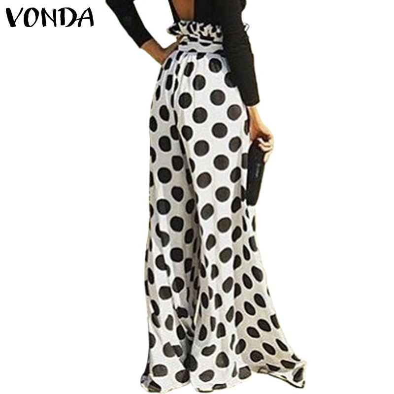 Dot Print Long Loose   Pants   VONDA Women Pantalon 2019 Autumn Elastic Waist   Wide     Leg     Pant   Streetwear Casual Office Trousers Plus
