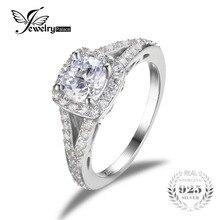 Jewelrypalace 2.2ct zirconia cúbico solitario anillo de compromiso de halo auténtica plata de ley 925 joyas de plata anillos de boda para las mujeres