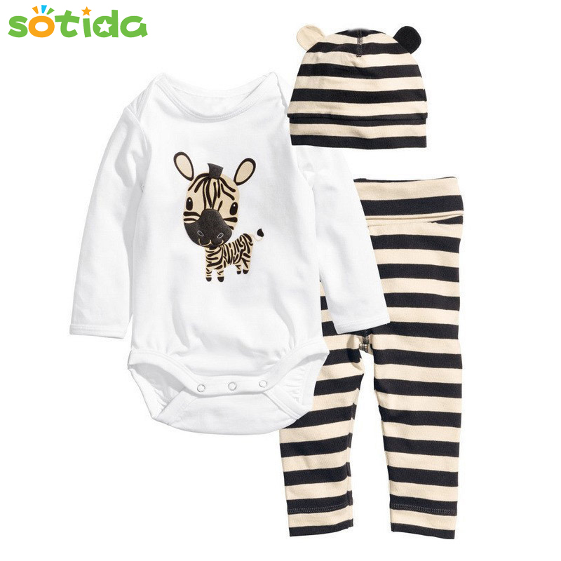 2016 New Cotton Children Casual Cartoon Baby Boys Girls Sets Clothes 3pcs(Long-Sleeved Romper+Hat+Pants)Children Clothing