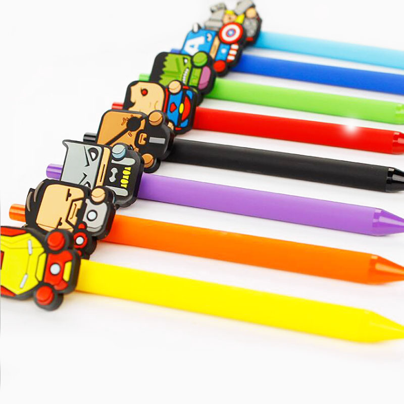 6pcs/lot Cartoon  Hero Gel Pen Kawaii 0.5mm Black Pen Kid Gift Papelaria Stationery Office & School Supplies G024