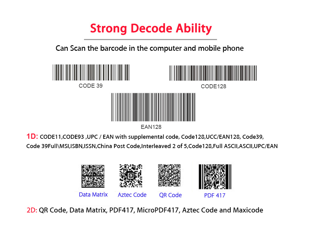 Reader USB Android/IOS/Windows Barcode 2