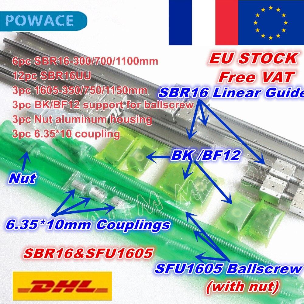 [STOCK ue] SBR16 Rail de guidage L-300/700/1100mm & 3 vis à billes SFU1605-350/750/1150mm avec écrou et 3 jeu BK/B12 & 6.35x10mm accouplement