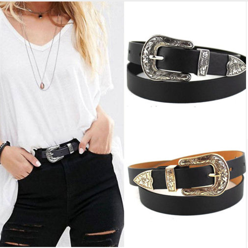 Women Black Leather Western Cowgirl Waist Belt Metal Buckle Waistband New Hot Belts For Women Luxury Designer Brand