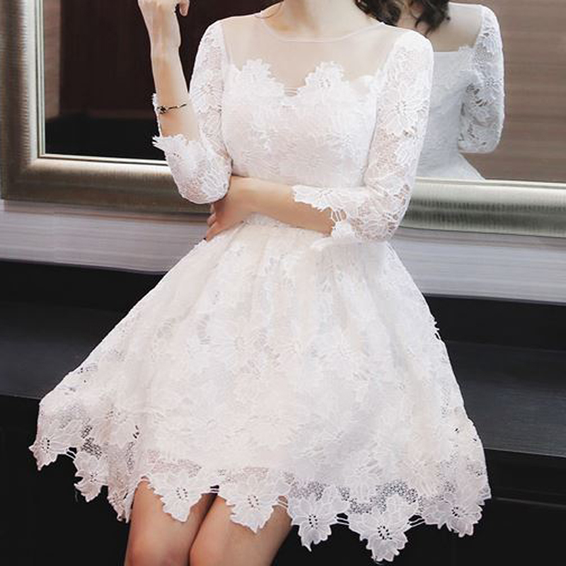 Lace hollow out embroidery solid ball gown vintage o