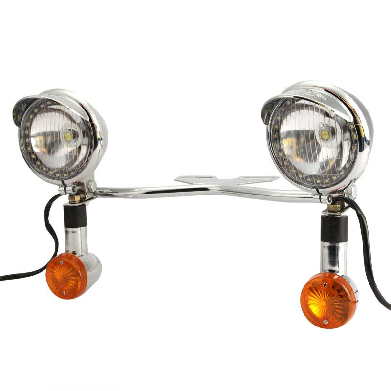 Chrome font b Motorcycle b font LED Headlight Passing Fog Spot Lamp Bullet Turn Signals Light