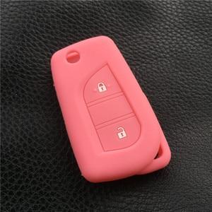 Image 4 - Silicone cover chìa khóa xe trường hợp chủ set túi Cho Peugeot 108 Lật Từ Xa Gấp 3 nút key