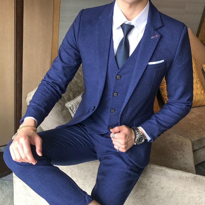 Marée D'affaires Costume avant Trois Gilet Coréen Bleu Grande gris Mariage Banquet Britannique Robe Hommes pièce De marron Taille Pantalon rouge XYrZOX