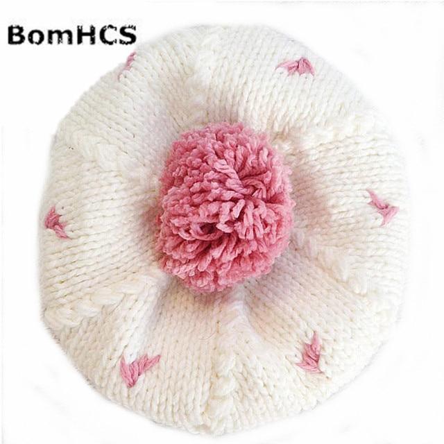 BomHCS 100% Artesanal tampão Feito Malha Chapéu Gorro Rosa Dot Simples  Branco Bonito Mulheres Inverno e4aa371b222