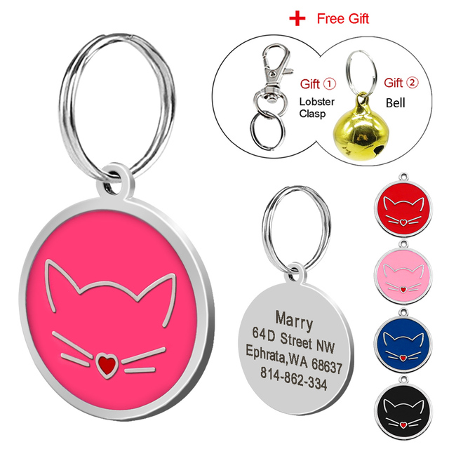 Custom Cat Tag Personalizzato Inciso Targhette Identificative Collare Dell'anima