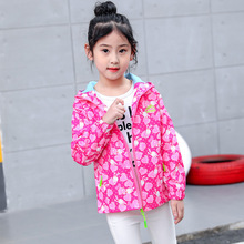 Kids Clothes 2019 new Spring Autumn Long Sleeve Girls Hooded Print  baby coat Baby 4-10 Girl