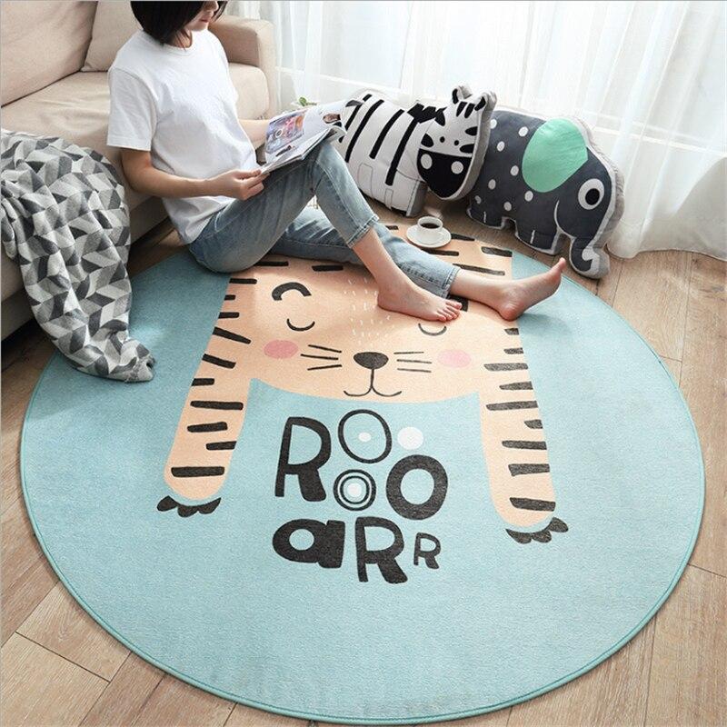 AOVOLL tapis rond sans poils dessin animé mignon pour le salon moderne tapis enfants chambre antidérapant et Anti-rides