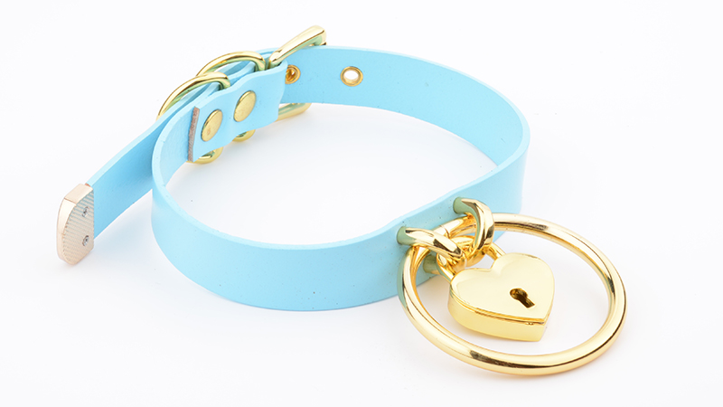 Punk Gothic Hand Crafted 100% Real Leather Choker 60mm O Round Gold Collar Kawaii Love Heart Necklace Women Lockable BDSM Choker 10