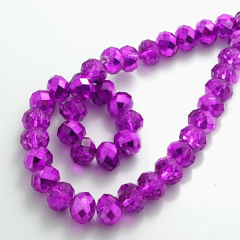 Wholesale Half Plated Rondelle Faceted Crystal <font><b>Glass</b></font> Loose Spacer <font><b>Beads</b></font> <font><b>4mm</b></font> 6mm 8mm 10mm Fuchsia 2 image