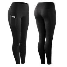 Высокие эластичные спортивные леггинсы с карманом женщин твердые брюки стрейч сжатия спортивной одеж