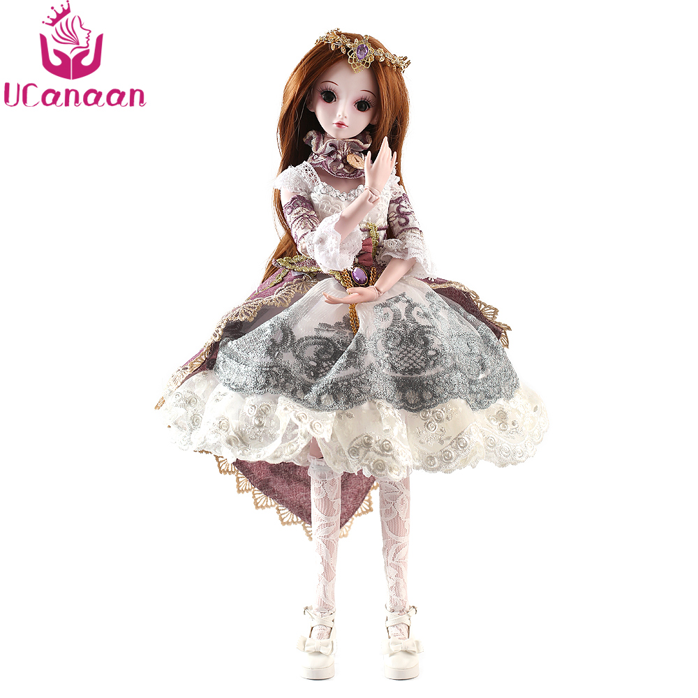 UCanaan 5 Styles 1/3 BJD SD Girls Doll 19 Ball Jointed Toys With All Outfits Makeup Children Dressup DIY Dolls handsome grey woolen coat belt for bjd 1 3 sd10 sd13 sd17 uncle ssdf sd luts dod dz as doll clothes cmb107