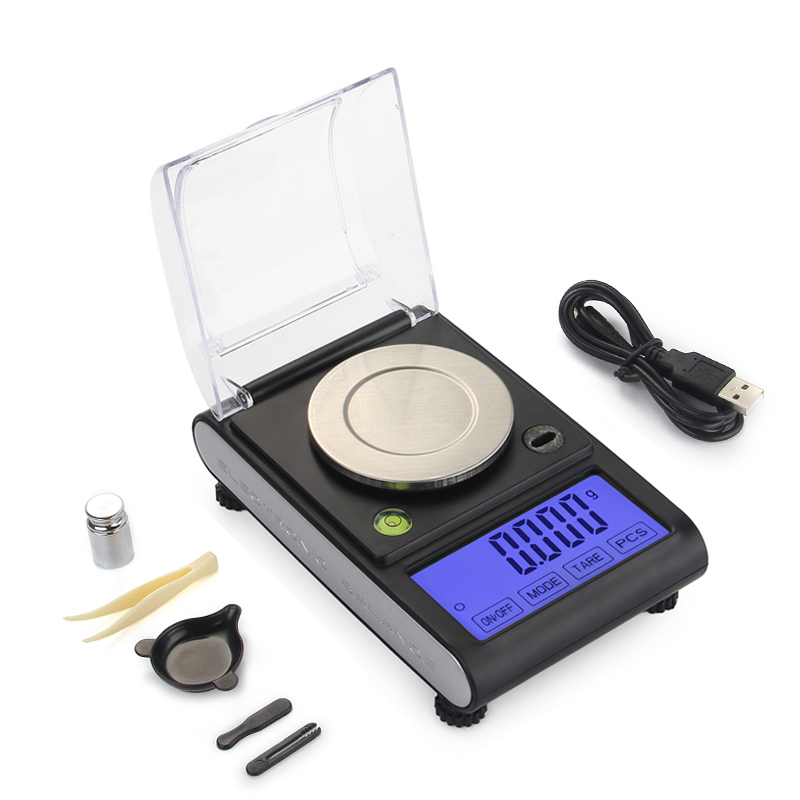 Digital Milligram Scale 50g X 0.001g Precision Laboratory Balance Weight Reloading Lab Powder Gems Jewelry Scale Back-lit LCD цена