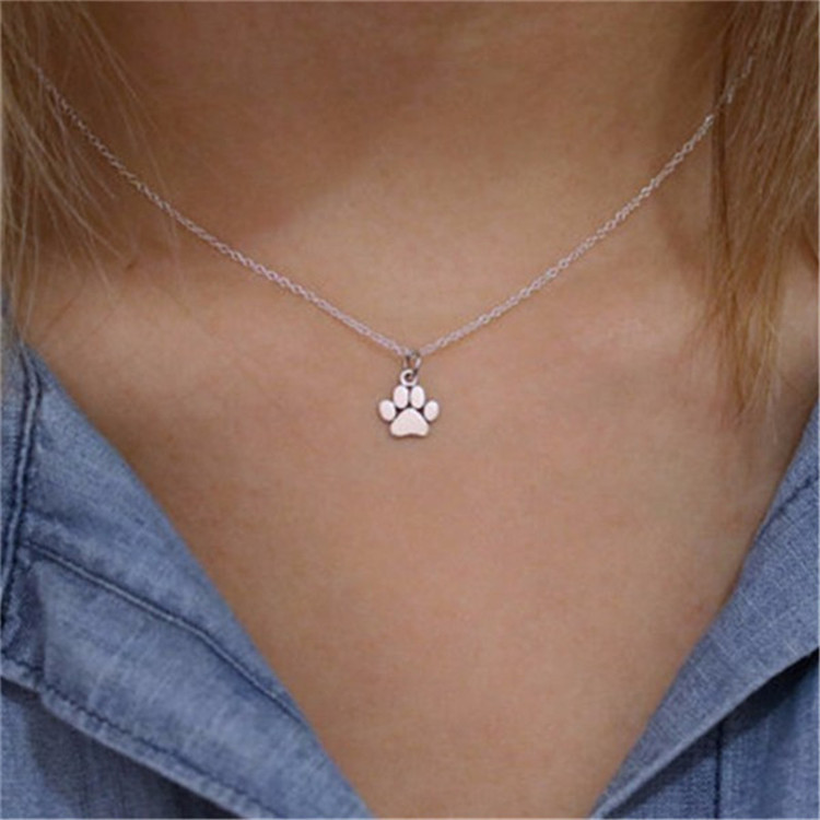 New Pet Paw Print Jewelry Necklace Silver Gold Color Dog, cat Paw Chain Necklace, Pet Memorial Gold Paw Print Pendant necklace